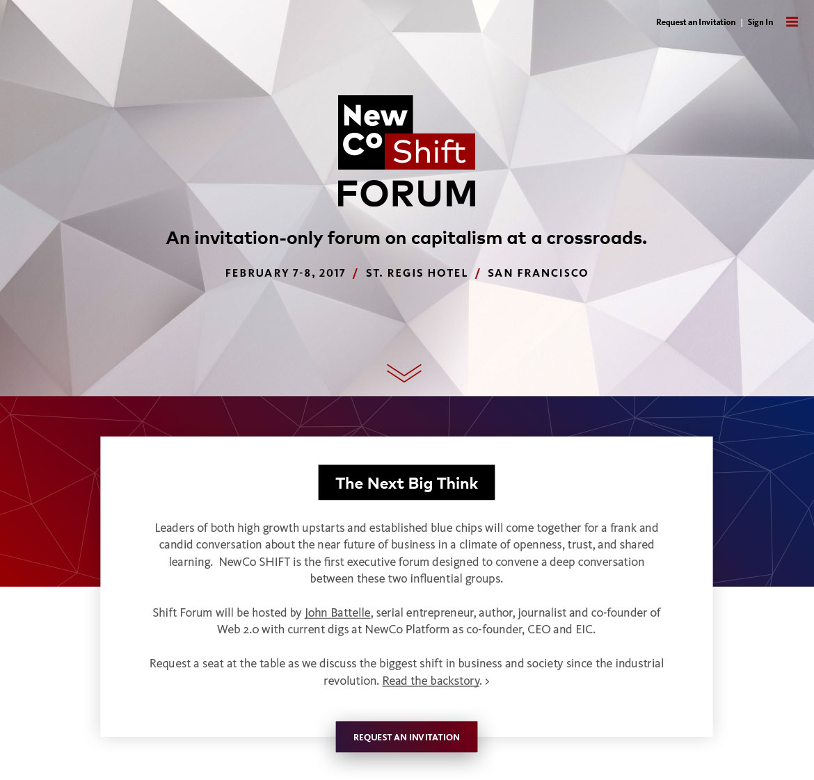 NewCo Shift Forum Website Header