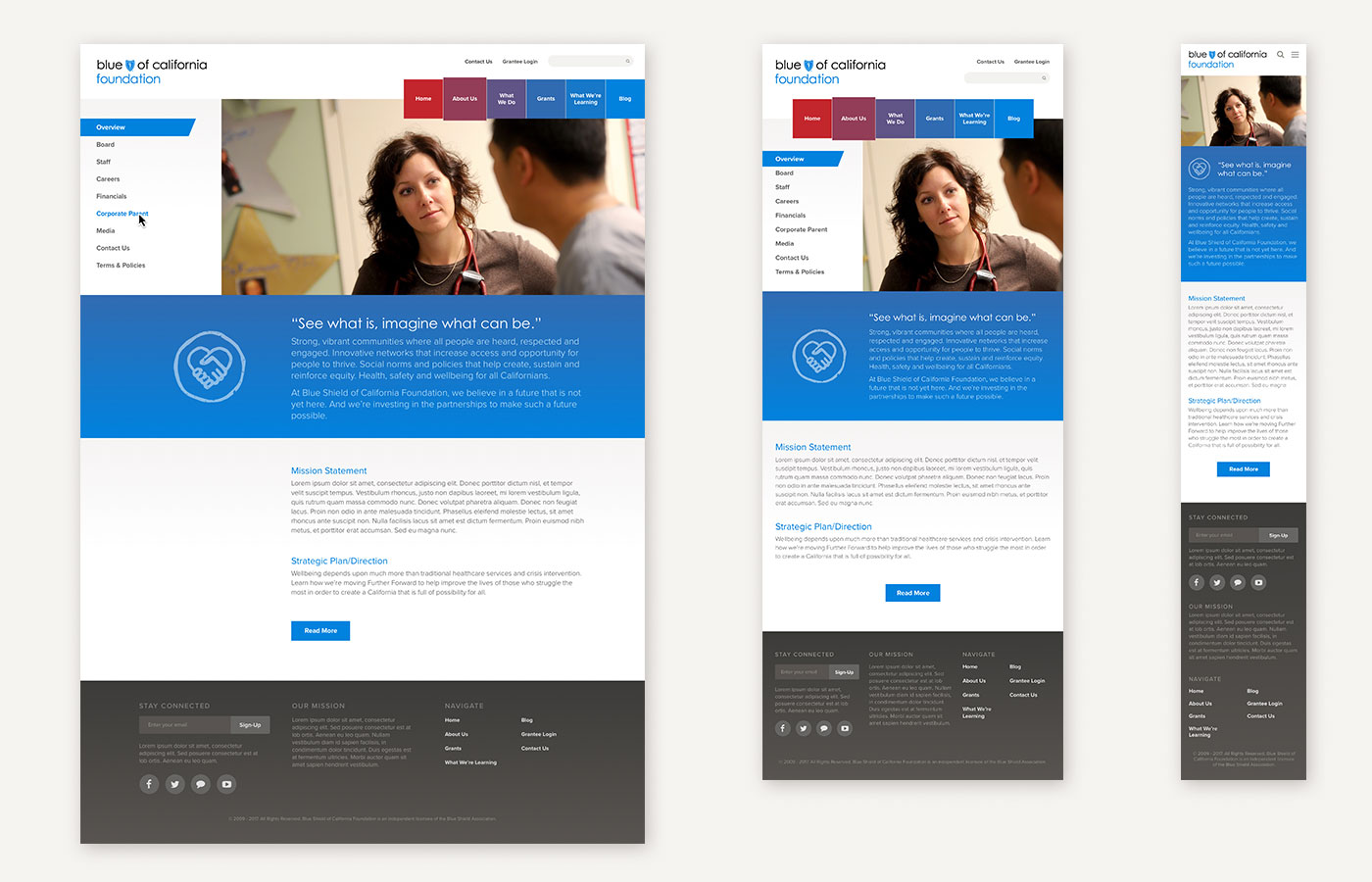 Blue Shield of California Foundation Website Design About Page