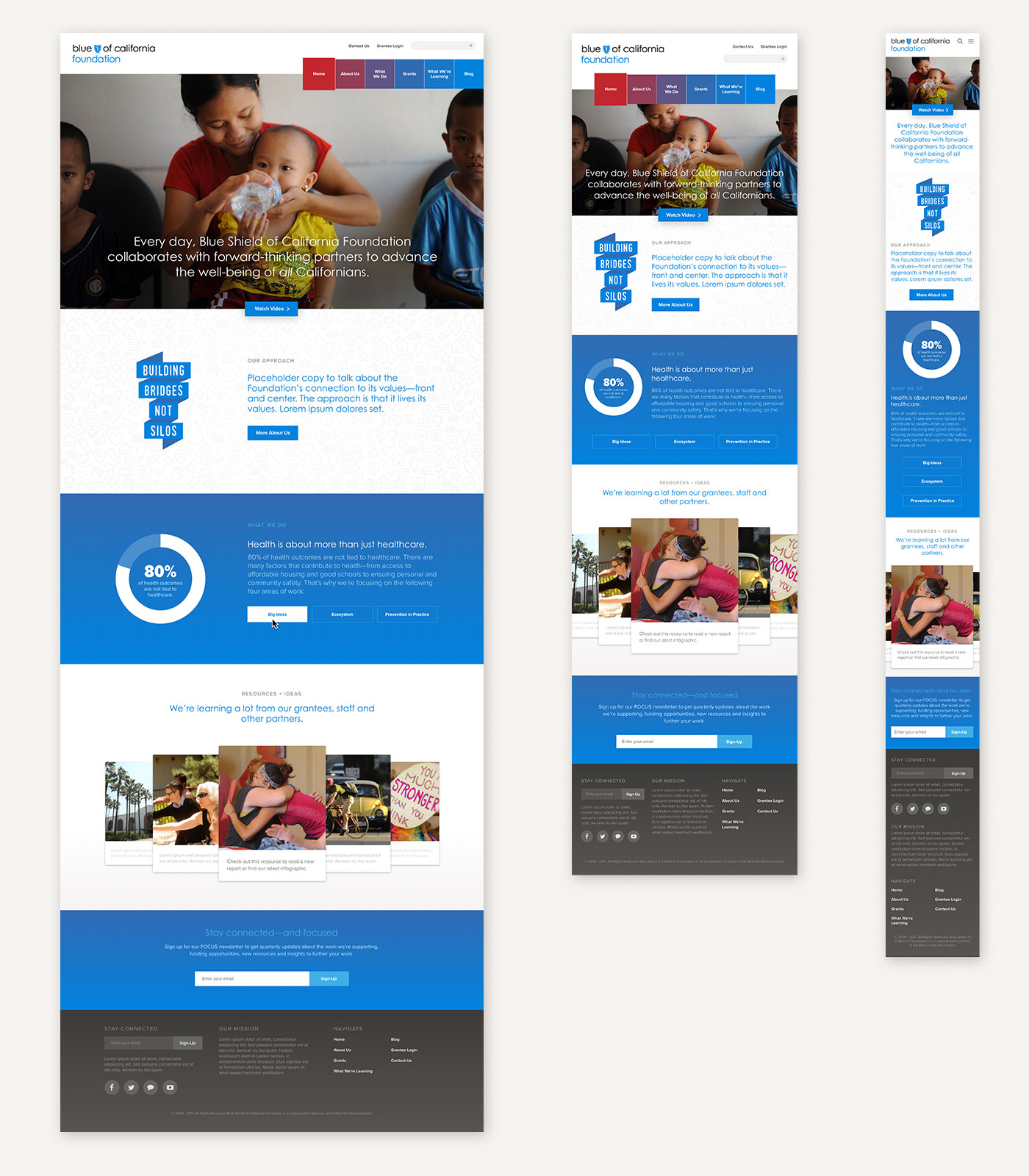 Blue Shield of California Foundation Website Design Homepage Desktop Tablet Mobile