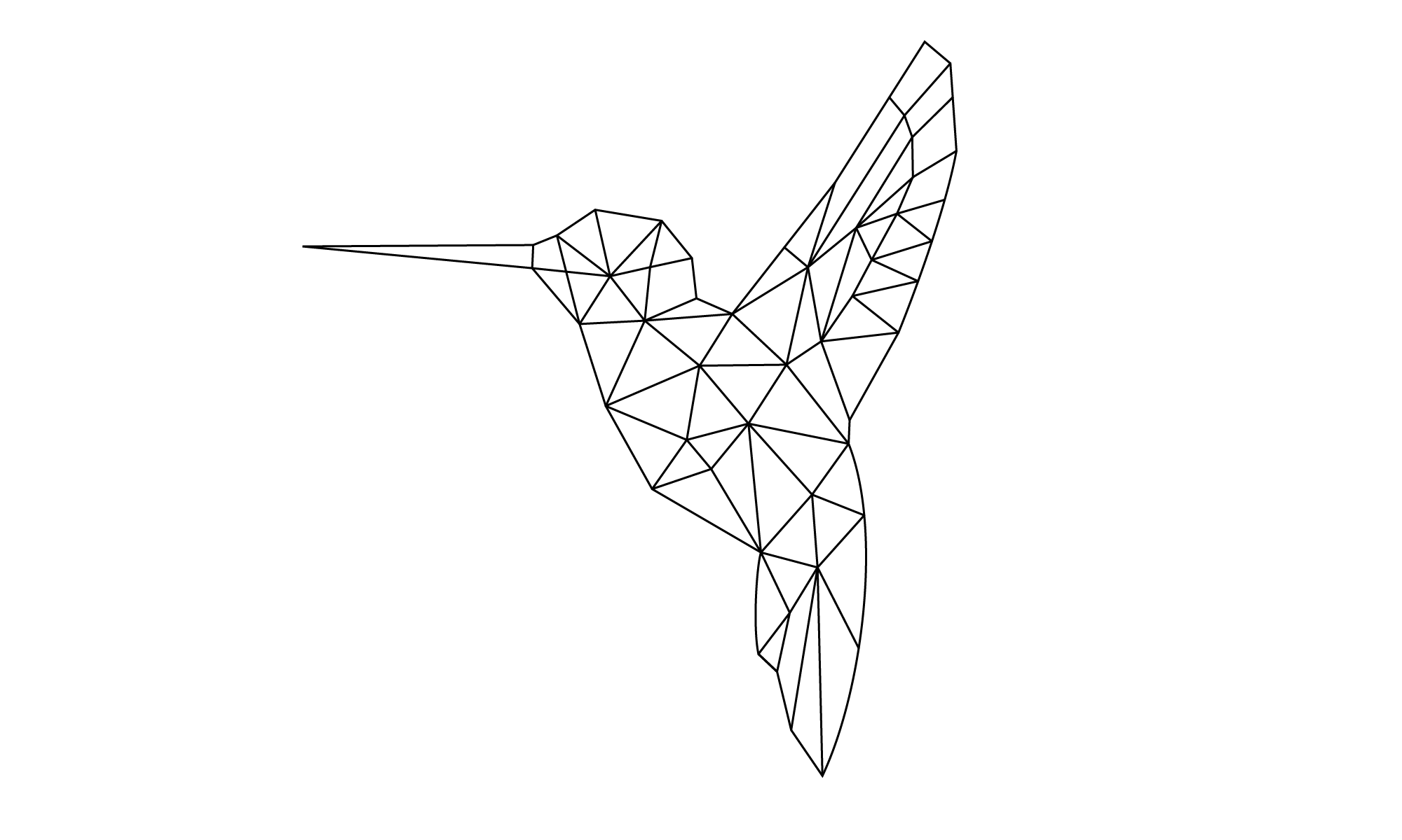 One Word Hummingbird Line Art