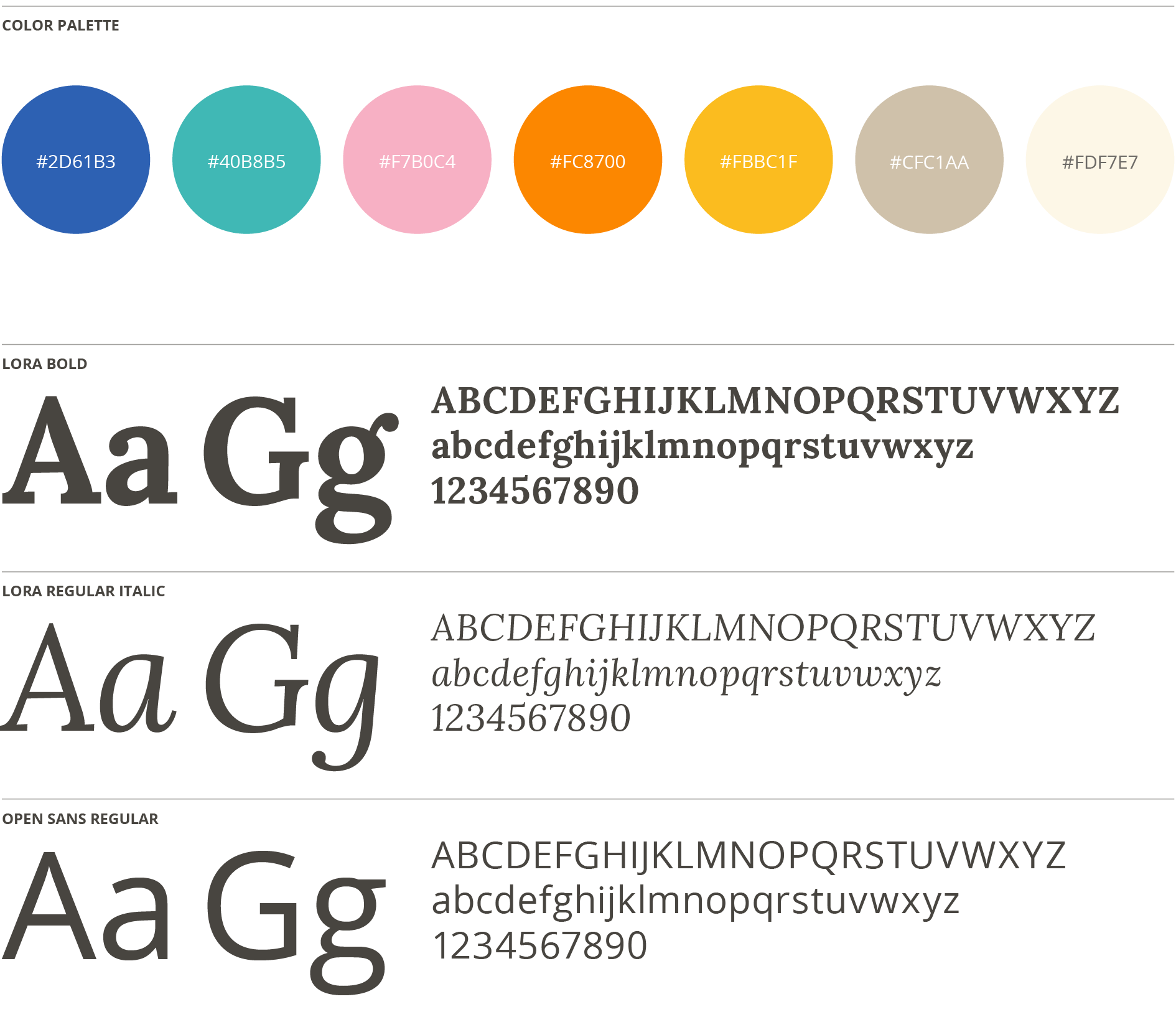 Curtis School Color Palette and Typography