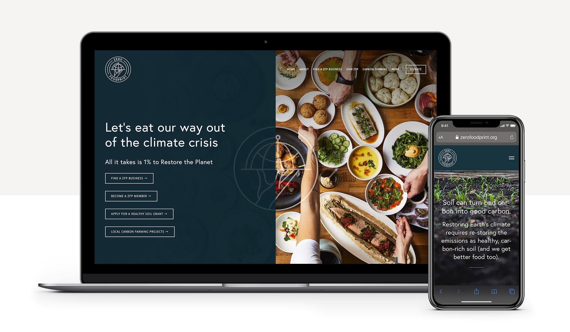 Zero Foodprint Responsive Website Mockup