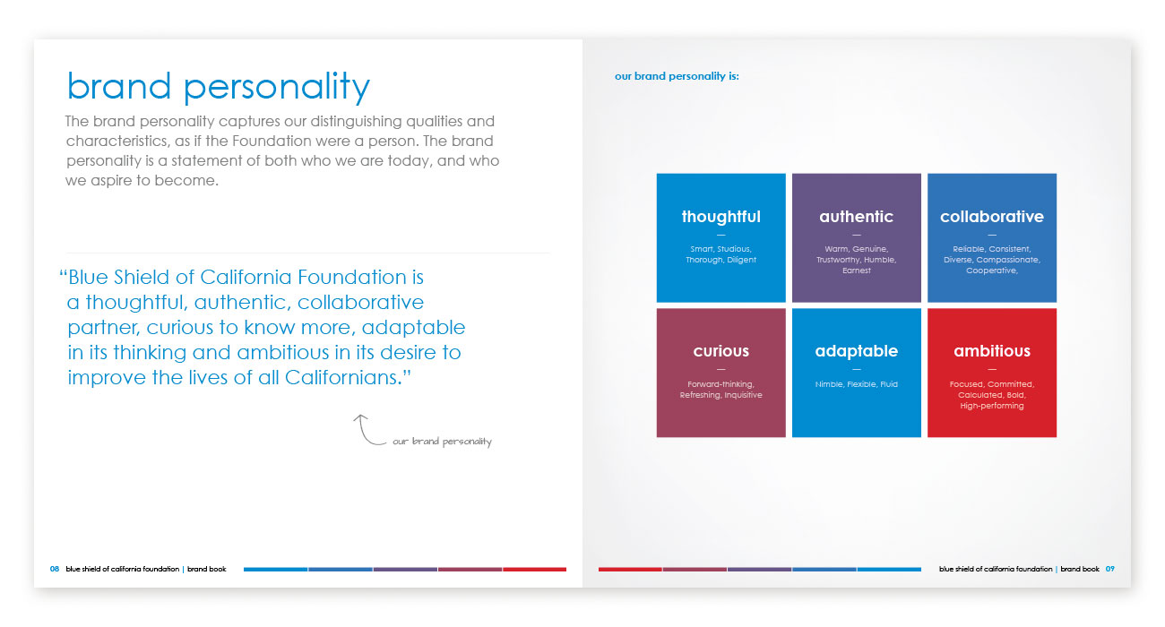 Blue Shield of California Foundation Brand Book Brand Personality