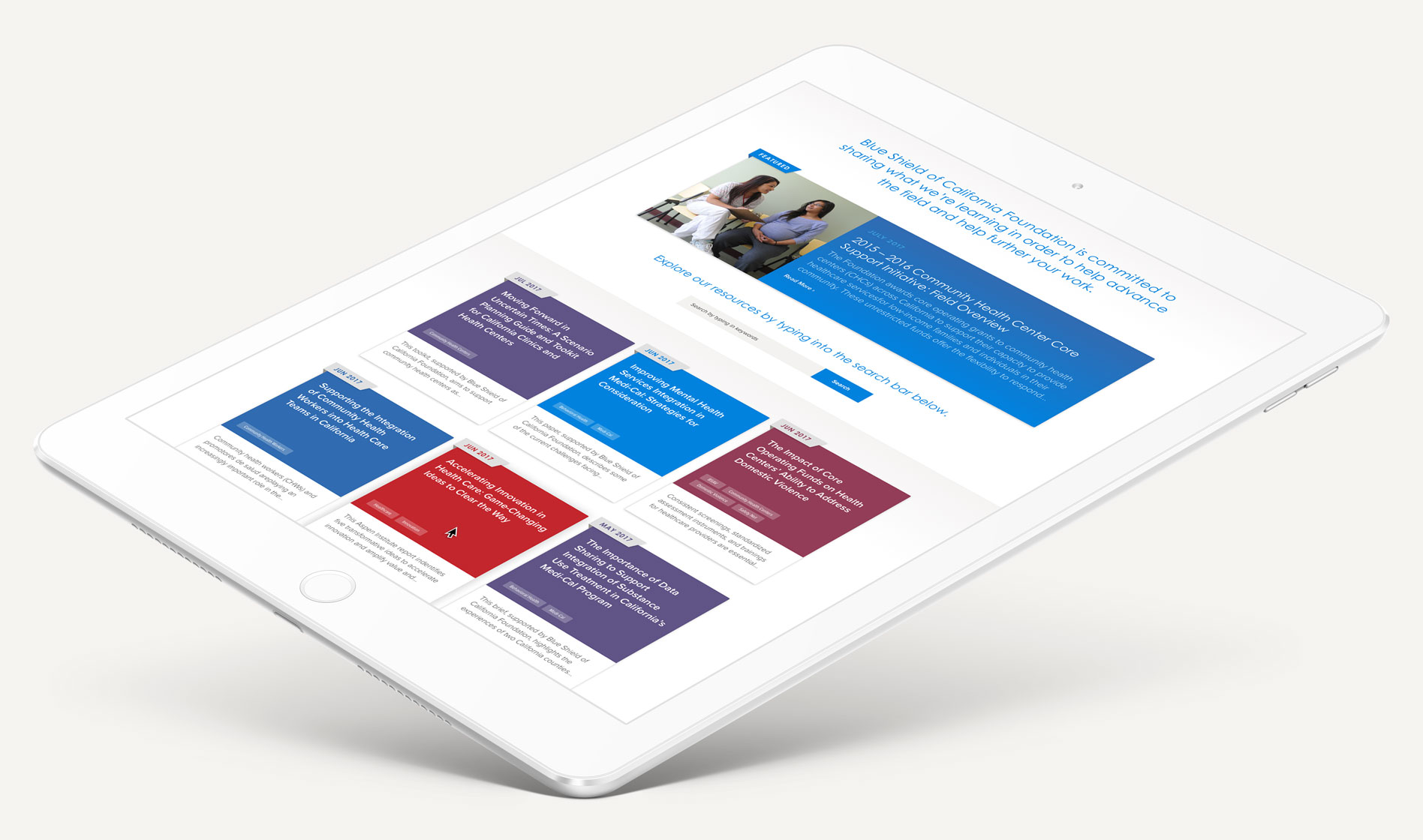 Blue Shield of California Foundation Web Design iPadPro