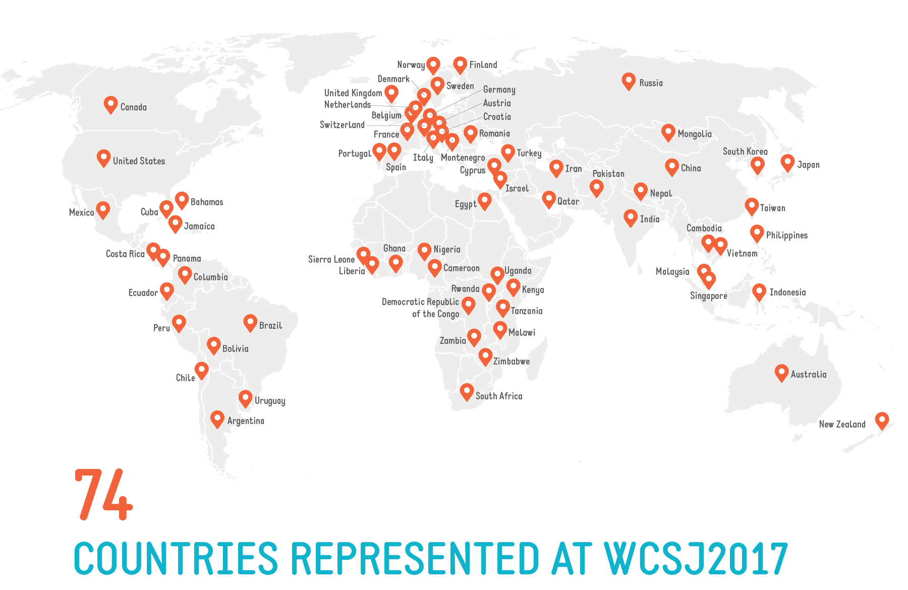 WCSJ2017 Stats Countries Map