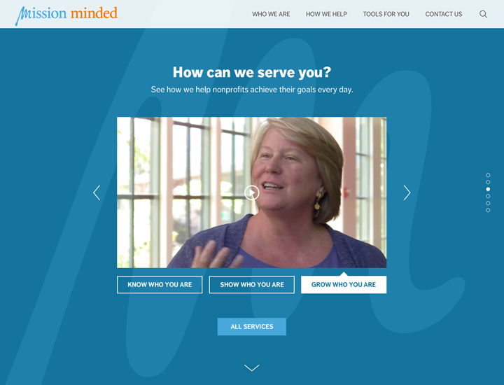Mission Minded Website Homepage - Services