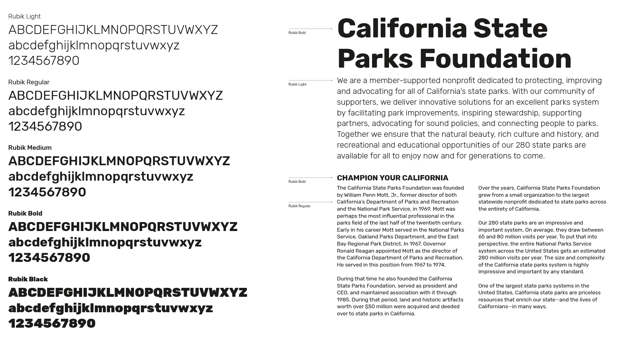 California State Parks Foundation Typography